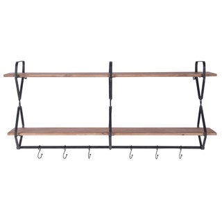 Beacon Black/Brown Iron/Wood Wall Shelf