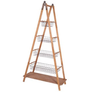 Ladder Galvanized Wire Removable Baskets Decorative Shelf