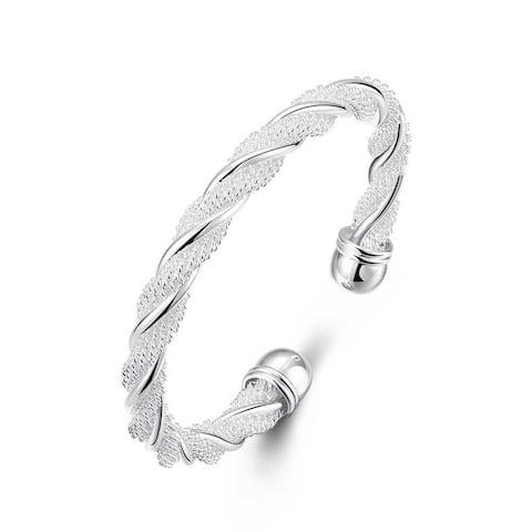 Sterling SilverTwisted Mesh Bracelet - Silver