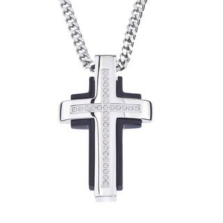 Stainless Steel and Diamond Cross Pendant