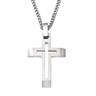 Stainless Steel Men's Cross Cutout Pendant By Ever One