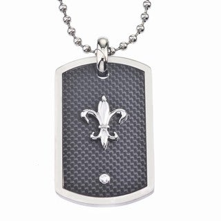 Men's Stainless Steel Fluer de Lis Dog Tag Pendant