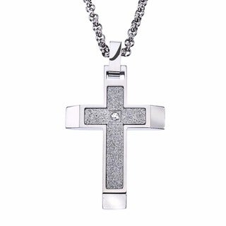 Stainless Steel Cubic Zirconia Men's Textured Cross Pendant By Ever One