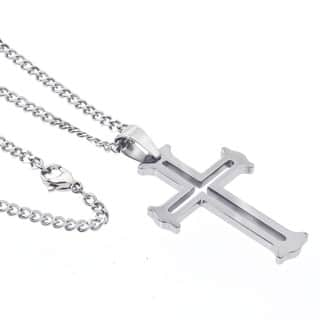 Buy tungsten mens necklaces online at overstock our best mens tungsten cut out cross pendant necklace by ever one aloadofball