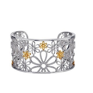 Sterling Silver 14k Yellow Gold 1/8ct TDW Diamond Cuff Flower Bracelet By Ever One (H-I, I1-I2)