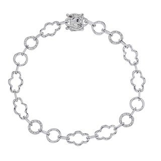 Sterling Silver 1/8ct TDW Diamond Bracelet By Ever One (H-I, I2-I3)