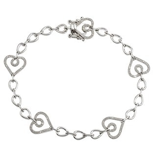 Sterling Silver 1/8ct TDW Diamond Heart Bracelet By Ever One (H-I, I2-I3)