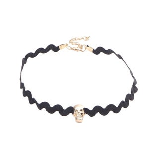 Gold-tone/Black Stainless Steel/Fabric Skull Choker