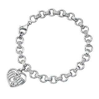 Sterling Silver 1/8ct TDW Diamond 'Mom' Bracelet By Ever One (H-I, I2-I3)