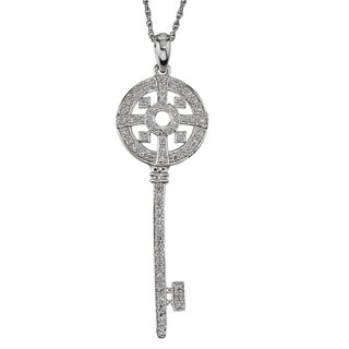 Sterling Silver 1/3ct TDW Diamond Key Pendant By Ever One (H-I, I2-I3)