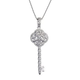 Sterling Silver 1/8ct TDW Diamond Key Pendant By Ever One (H-I, I2-I3)