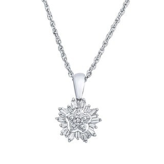 Sterling Silver 1/5ct TDW Diamond Cluster Snowflake Necklace By Ever One (H-I, I2-I3)