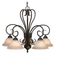 Golden Lighting's Homestead Bronze-finished Steel 5-light Nook Chandelier