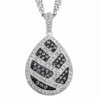Sterling Silver 3/4ct TDW Grey Diamond Pear Necklace By Ever One