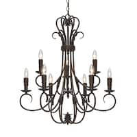 Copper Grove Nicosia Steel 2-tier 9-light Candelabra Chandelier