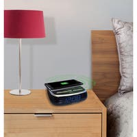 SXE Blue LED Wireless Charging Pad Alarm Clock