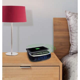 SXE Blue LED Wireless Charging Pad Alarm Clock