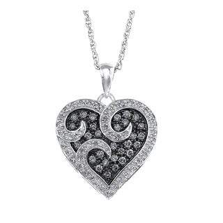Sterling Silver 1/2ct TDW White and Grey Diamond Heart Pendant By Ever One (H-I, I2-I3)