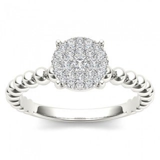 De Couer 14K White Gold 1/5ct TDW Diamond Composite Engagement Ring - White H-I