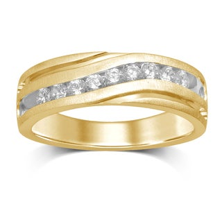 Unending Love 10kt Yellow Gold 1/2ct 9 Stones Machine Set Gents Band (IJ/ I2)