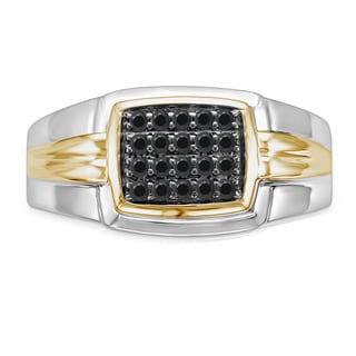 Unending Love 10k Yellow Gold over Silver Men's 1/4ct TDW Black Diamond Ring