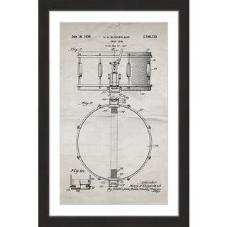 Marmont Hill - 'Snare Drum 1939 Old Paper' by Steve King Framed Painting Print