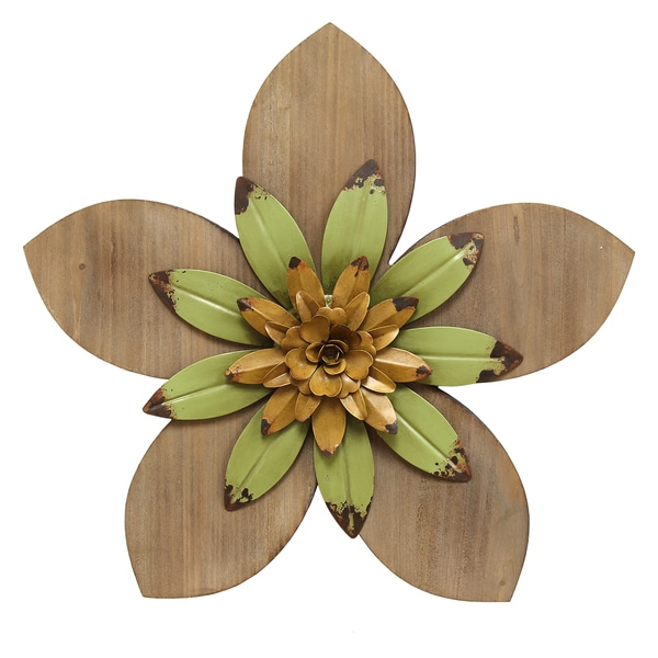 Stratton Home Multicolored MDF/Metal Rustic Flower Wall Decor