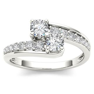 De Couer 14k White Gold 5/8ct TDW Two-Stone Diamond Engagement Ring
