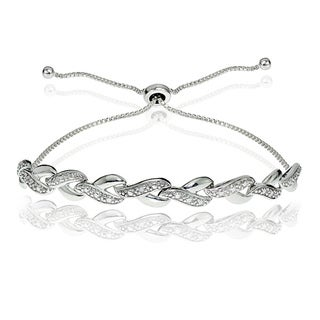 Link to DB Designs Sterling Silver Diamond Accent Y Link Adjustable Slider Bracelet Similar Items in Bracelets