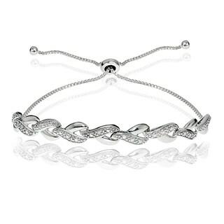 DB Designs Sterling Silver Diamond Accent Y Link Adjustable Slider Bracelet