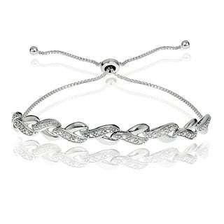 DB Designs Sterling Silver Diamond Accent Y Link Adjustable Slider Bracelet (2 options available)