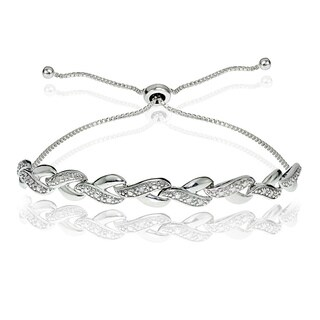 DB Designs Sterling Silver Diamond Accent Y Link Adjustable Slider Bracelet