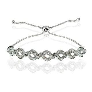 DB Designs Sterling Silver Diamond Accent Wave Braid Adjustable Slider Bracelet