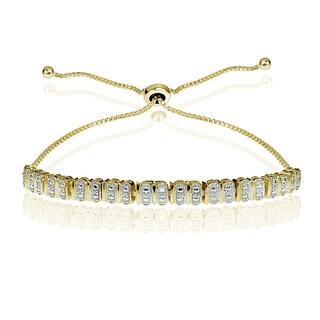 DB Designs Sterling Silver Diamond Accent Studded Tennis Adjustable Slider Bracelet