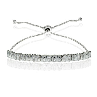 DB Designs Sterling Silver Diamond Accent Studded Tennis Adjustable Bolo Bracelet