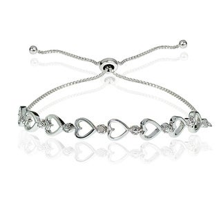 DB Designs Sterling Silver Diamond Accented Open Heart Link Adjustable Slider Bracelet