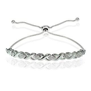 DB Designs Sterling Silver Diamond Accented X Tennis Adjustable Slider Bracelet