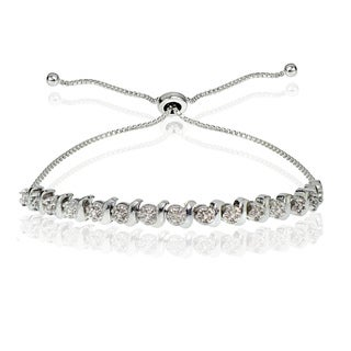 DB Designs Sterling Silver Diamond Accented Round S-link Adjustable Bolo Bracelet