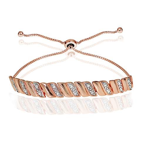 DB Designs Sterling Silver Diamond Accented San Marco Adjustable Slider Bracelet
