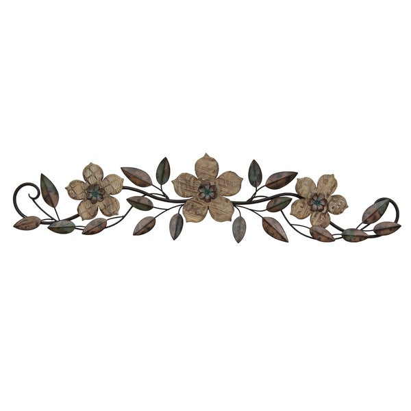 Stratton Home Decor Floral Patterned Wood Over-the-door Wall Decor