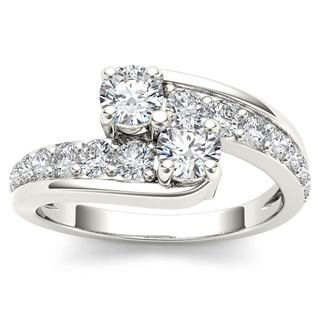 De Couer 14k White Gold 1ct TDW Two-Stone Diamond Bypass Ring - White H-I