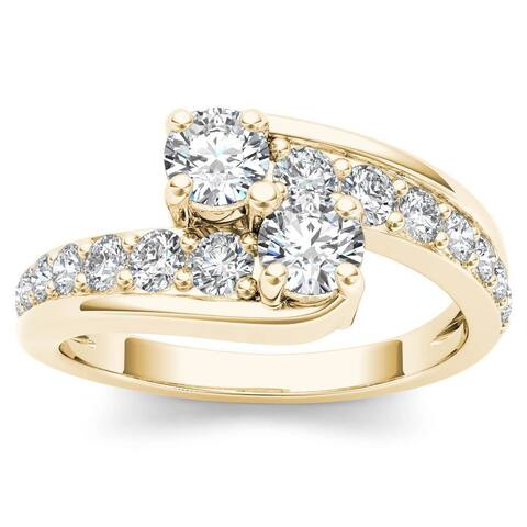 De Couer 14k Yellow Gold 1ct TDW Two-Stone Diamond Bypass Ring