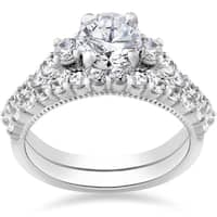 14k White Gold 2 ct TDW Diamond Clarity Enhanced Vintage Engagement Wedding Ring Set