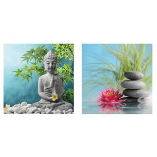 Cortesi Home 'Karma' Tempered Glass 12-inch x 12-inch Wall Art (Set of 2)