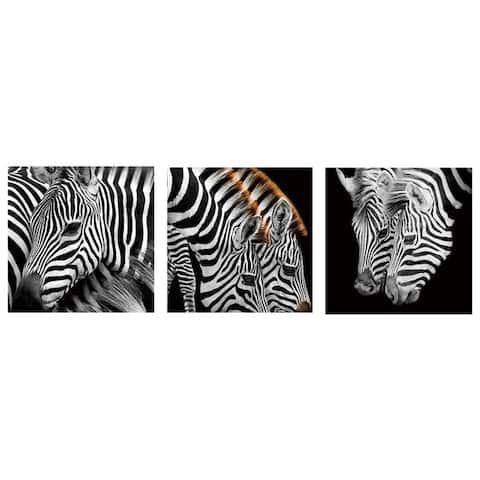Cortesi Home 'Zebra Stripes' 12-inch Tempered Glass Wall Art (Set of 3)