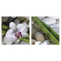 Cortesi Home 'Simplicity' Tempered Glass 12-inch x 12-inch Wall Art (Set of 2)
