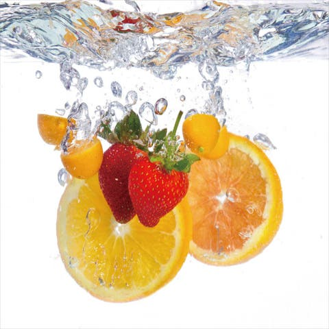 Cortesi Home 'Fruit Splash I' Tempered Glass 12-inch x 12-inch Wall Art