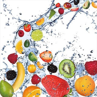 Cortesi Home 'Fruit Splash II' Tempered Glass 12-inch x 12-inch Wall Art