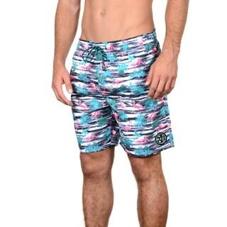 Maui & Sons Men's Flamingo Fusion Multicolor Polyester Boardshorts