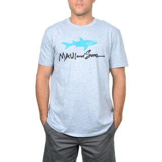 Maui and Sons Men's Grey Cotton Straight Shark Tee